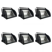 Kit 6 Refletores Mini Set Light + Lâmpada Palito Halógena 500w 220v 118mm