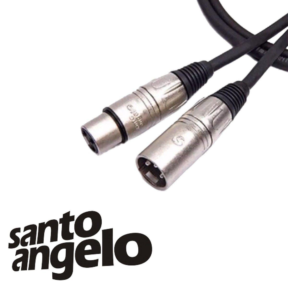 Cabo de Microfone Santo Angelo Canon Balanceado Xlr + Xlr 7 Metros (Montado)  - RS Som e Luz!