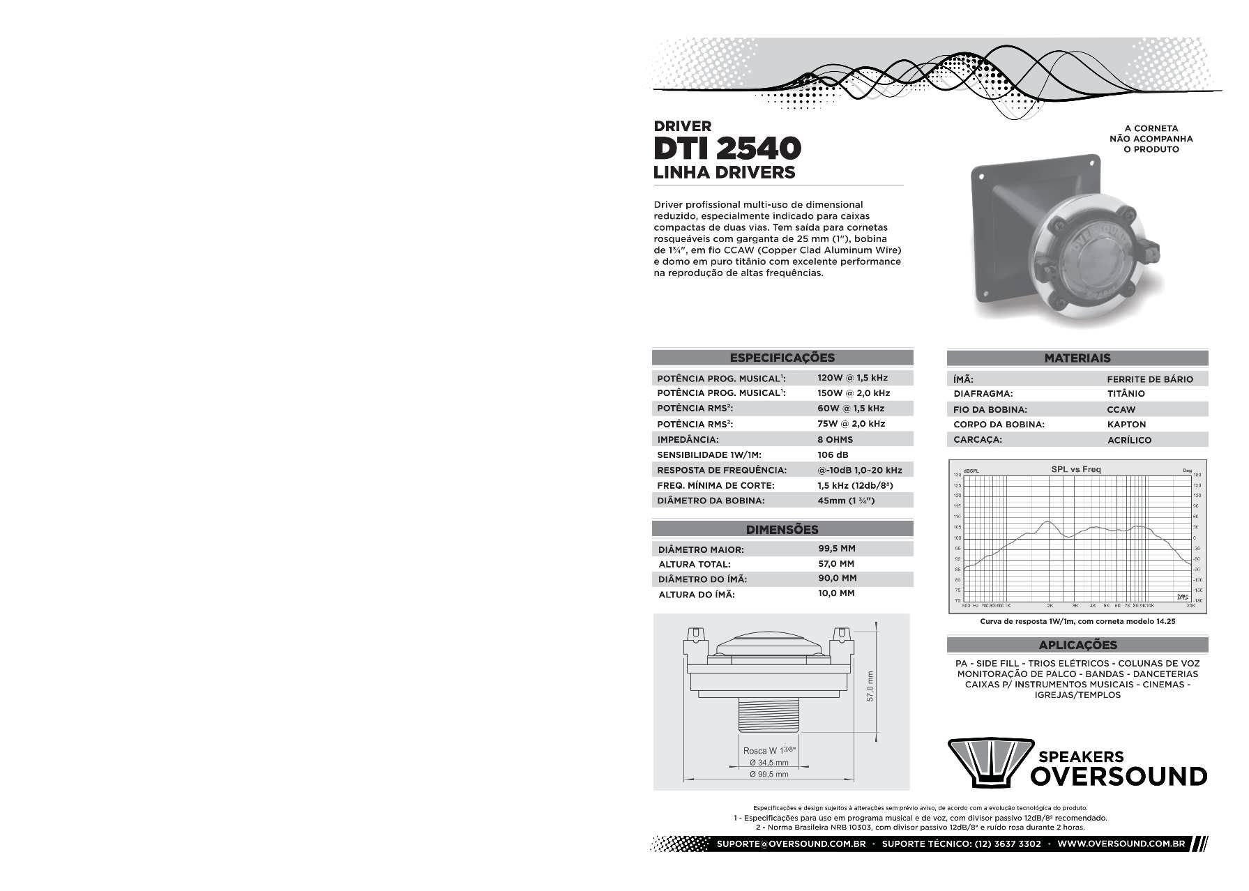 Driver DTI 2540 - Oversound  - RS Som e Luz!