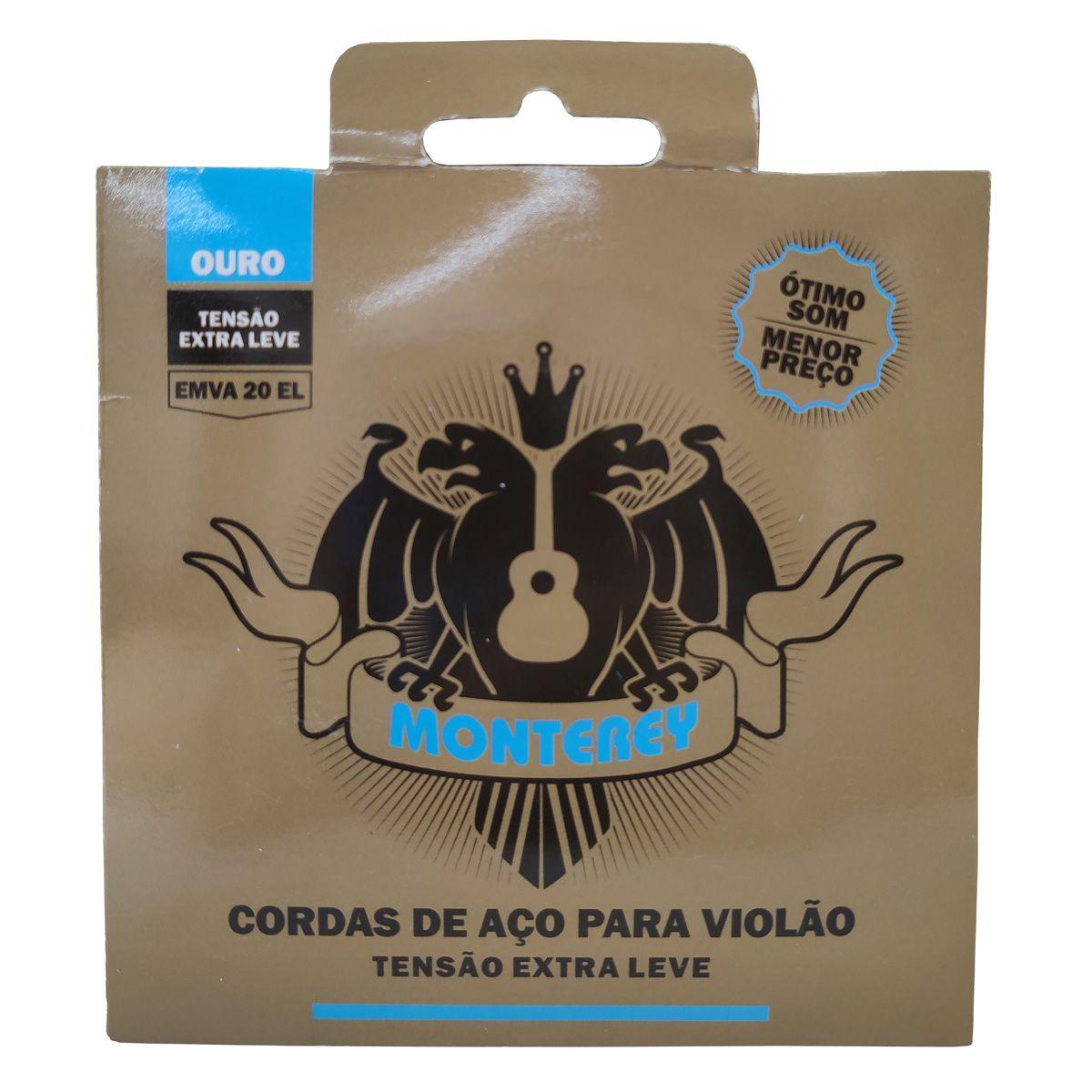 Jogo de Cordas p/ Violão Aço Ouro Extra Leve EMVA 20 - Monterey  - RS Som e Luz!
