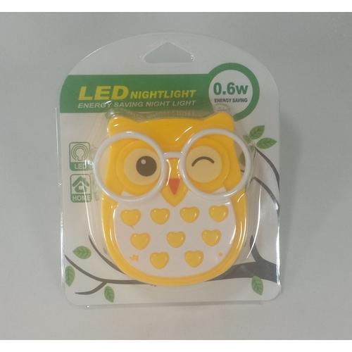 Abajur/Luminaria De Tomada Coruja Com Sensor