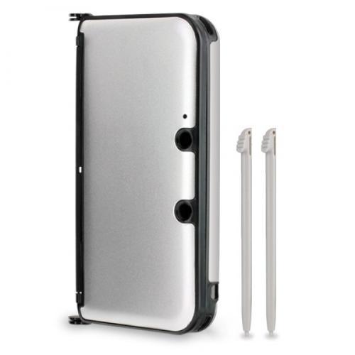 Capa de Plástico com detahes de Alumínio para 3DS XL - Prata