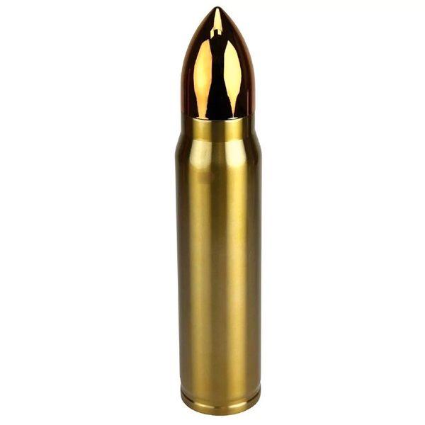 Garrafa Térmica 500ml Formato De Bala Aço Inox .762 Dourada