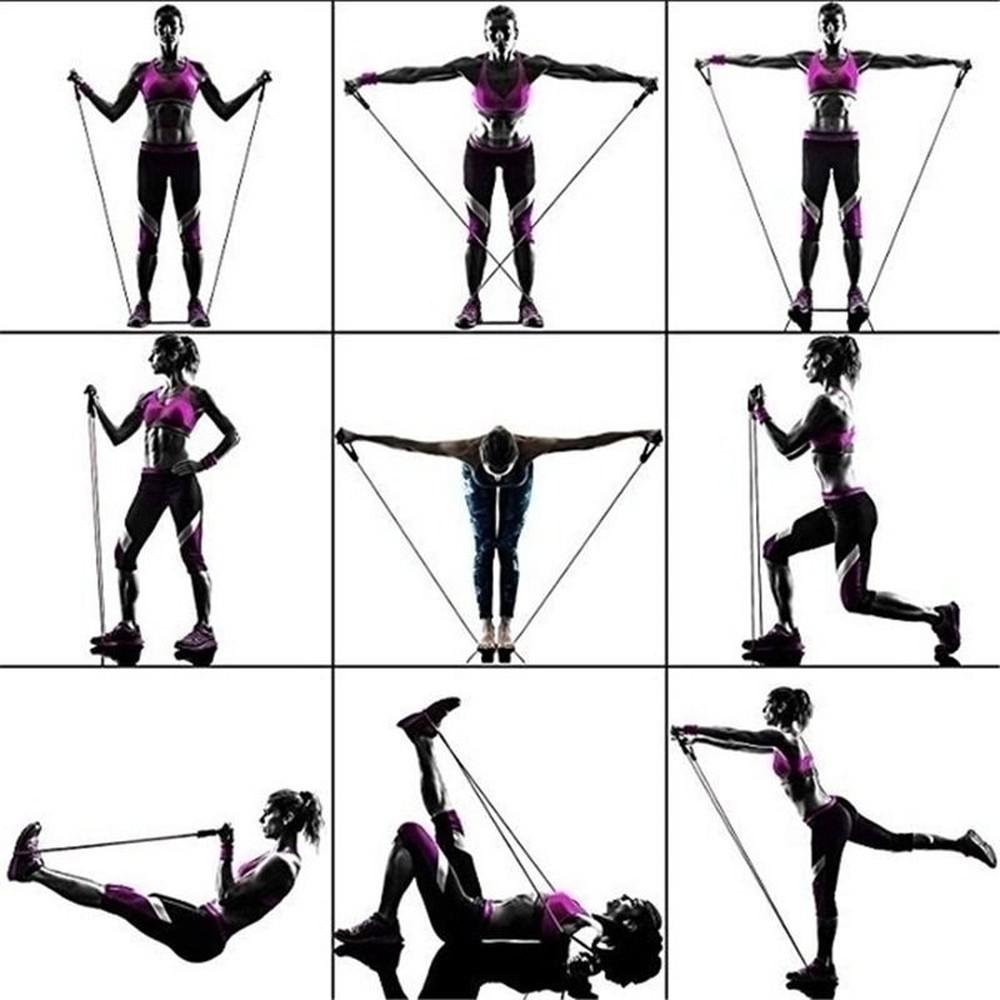 Kit 11 peças elásticos extensores para yoga e exercício