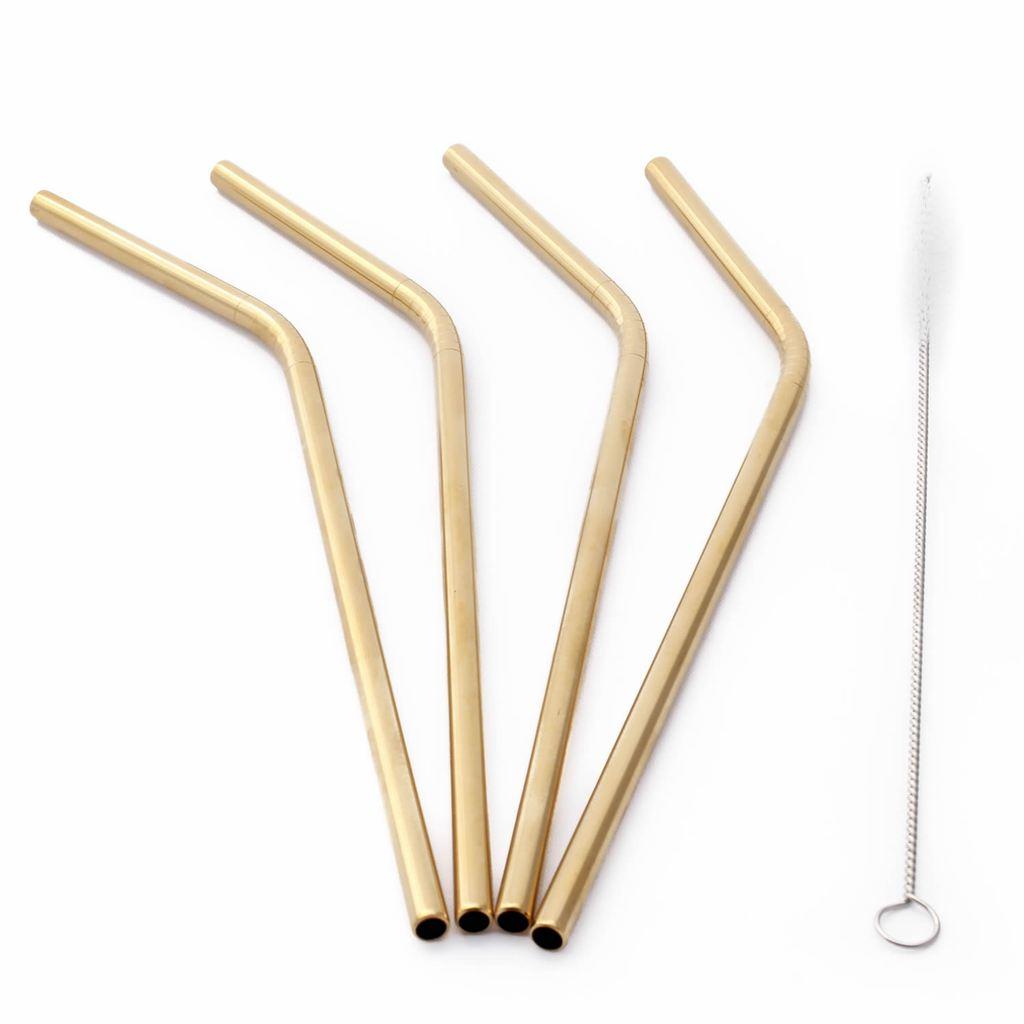Kit 4 Canudos Reutilizáveis Curvo Aço Inox Dourado e Escova