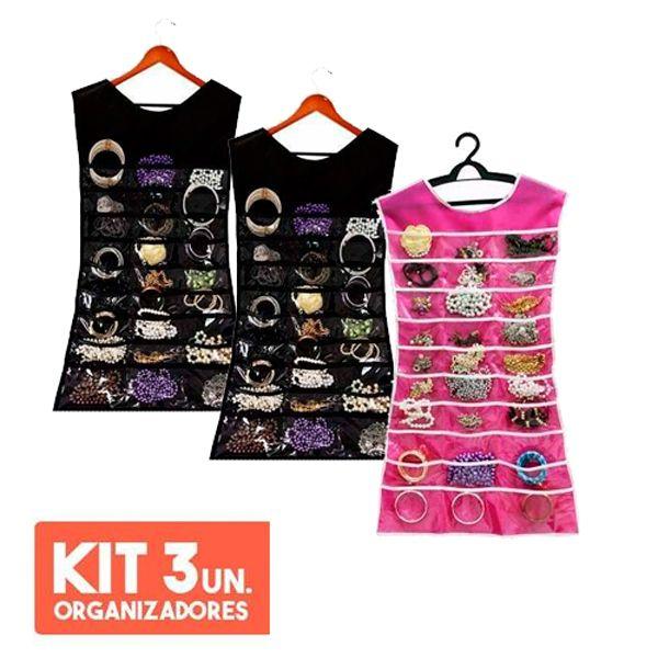 KIT com 3 Porta Joias Organizador De Bijuterias Vestido Para Cabide