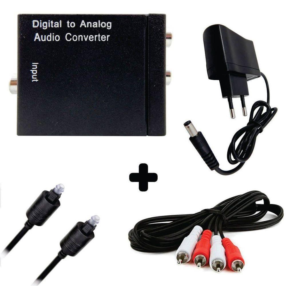 Kit Conversor Áudio Digital P/ Rca + Cabo Óptico Toslink 1,5 Mts + Cabo Áudio Rca X Rca