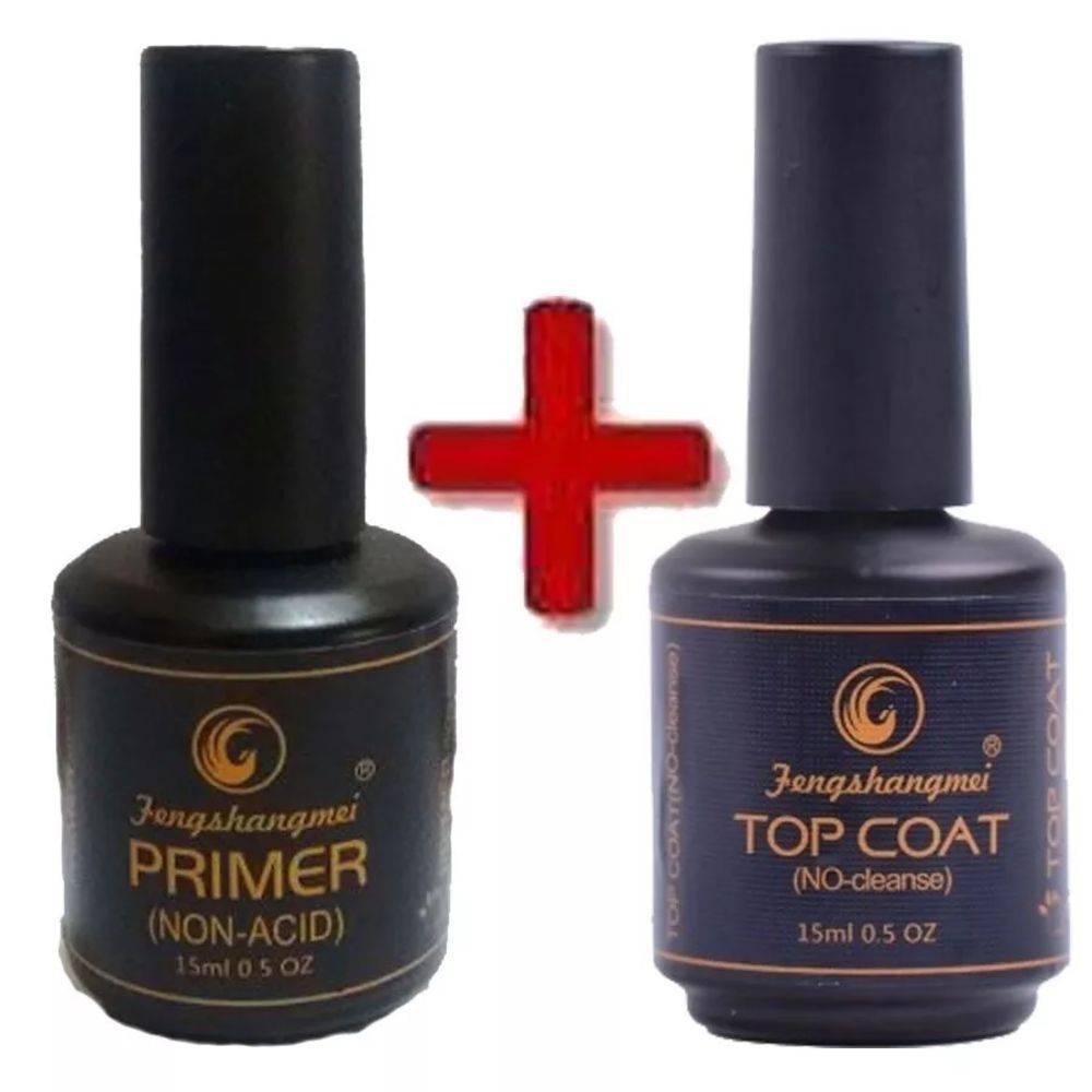 Kit Selante Top Coat Fengshangmei + Primer S/ Acido Unhas