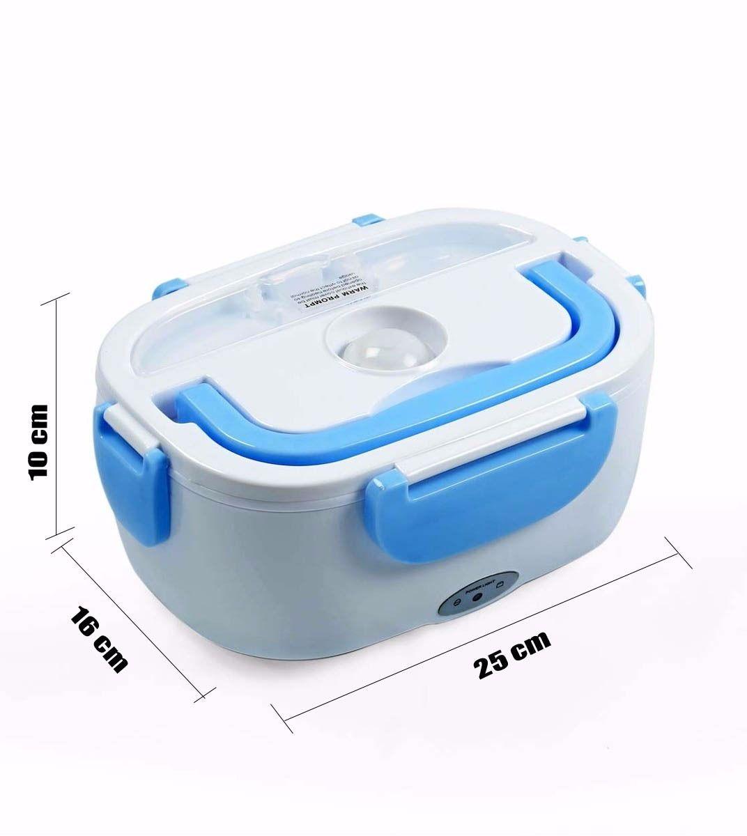 Marmita Elétrica Automatica Eletric Lunch Box com Divisórias e Talheres - Azul
