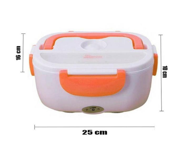 Marmita Elétrica Automatica Eletric Lunch Box com Divisórias e Talheres - Laranja
