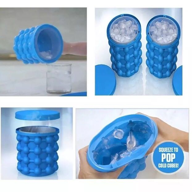 Mini Balde Forma De Gelo Silicone Ice Magic Cube Da Tv