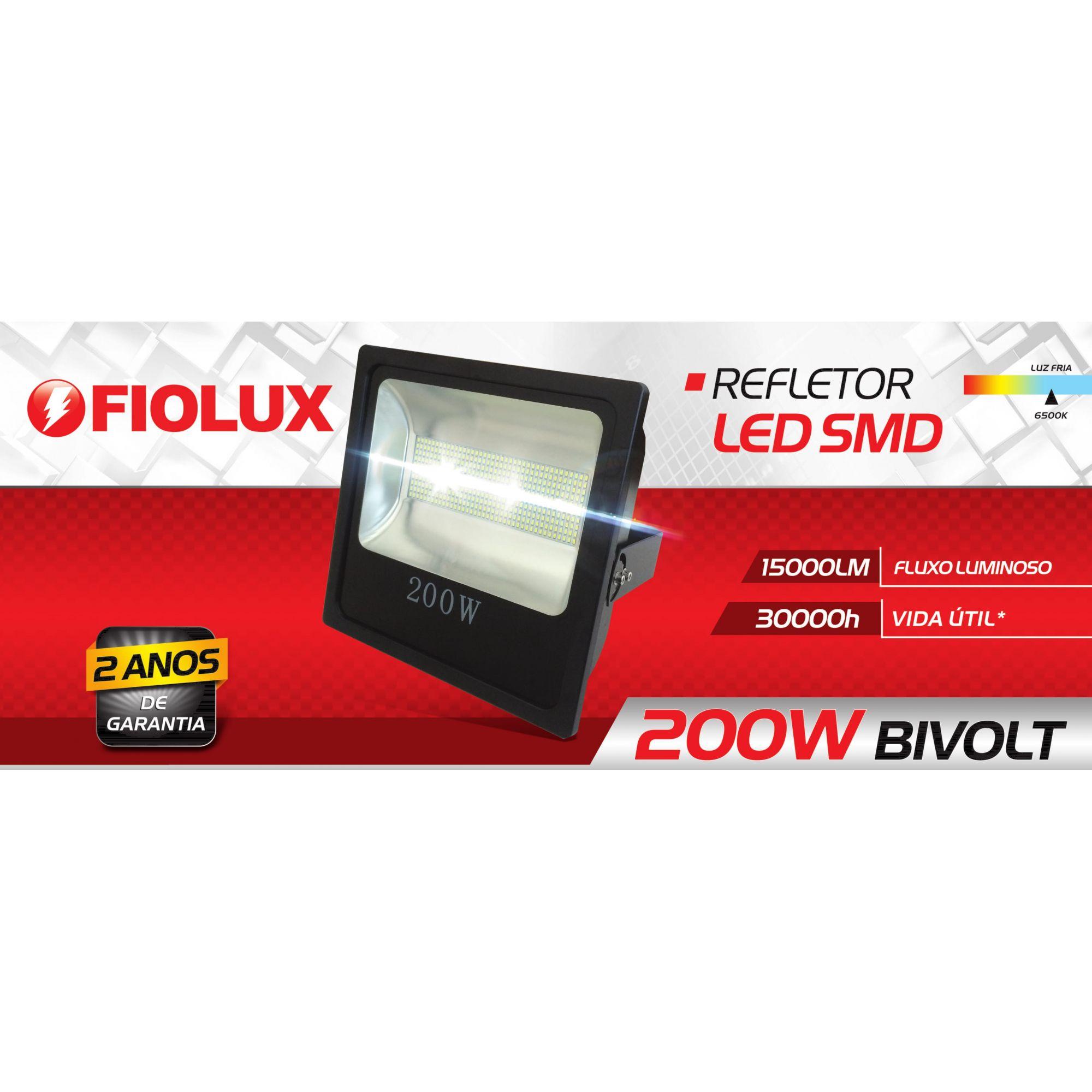 Refletor Led Smd 200 W FIOLUX Holofote Bivolt 110/220 a Prova d'água IP65