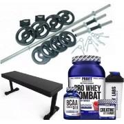 Kit 44 - Musculação + Barras + Anilhas + Banco e Suplementos