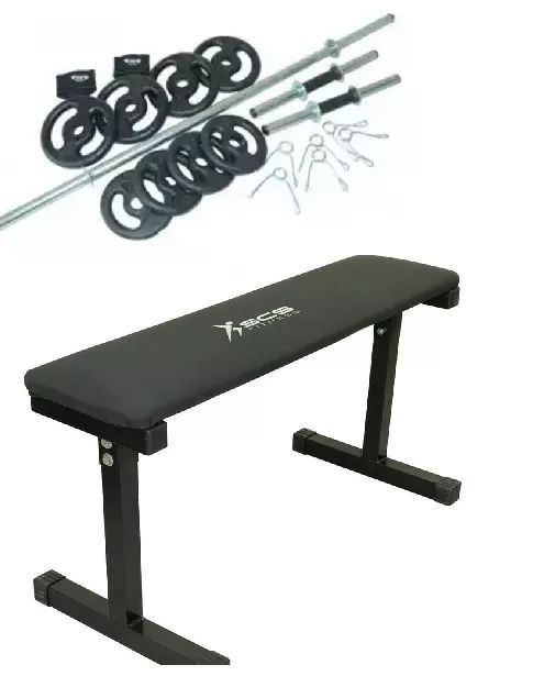 f61f8b6cd Kit 39 - Barras de Musculação + Banco de Supino + Anilhas