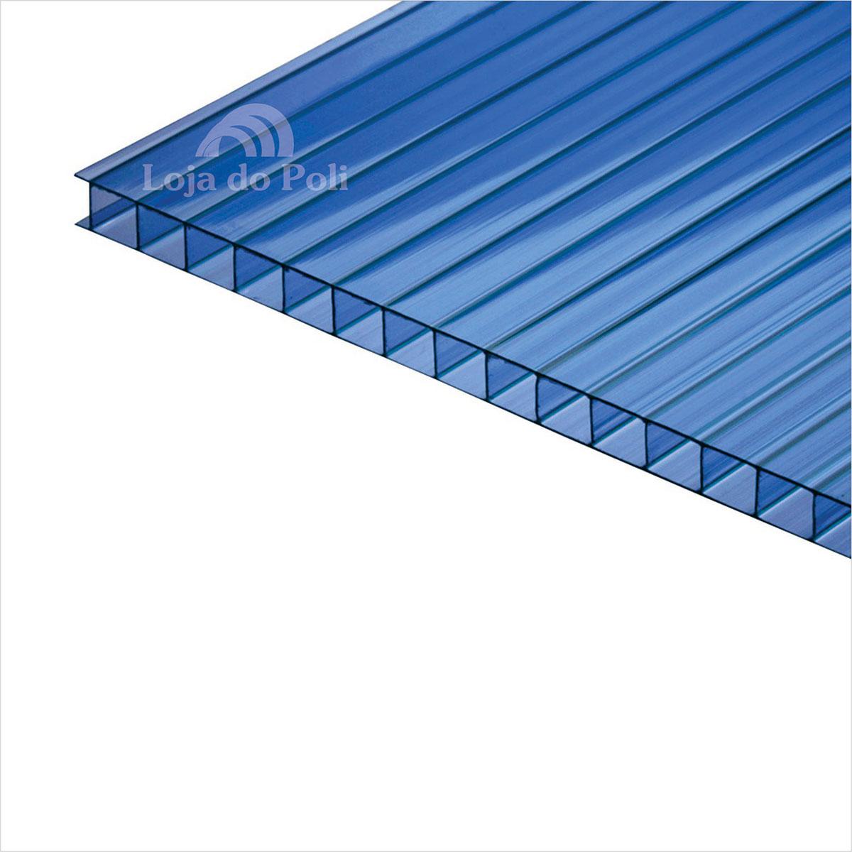 Chapa Policarbonato Alveolar Azul 10mm 1,0x6,0m