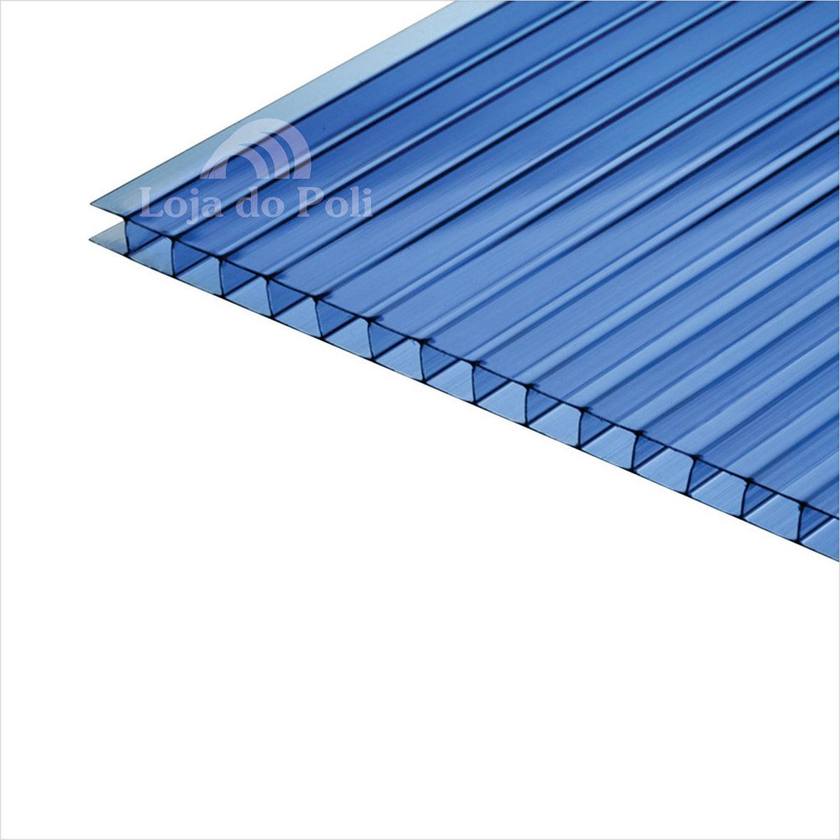Chapa Policarbonato Alveolar Azul 6mm 1,0x6,0m