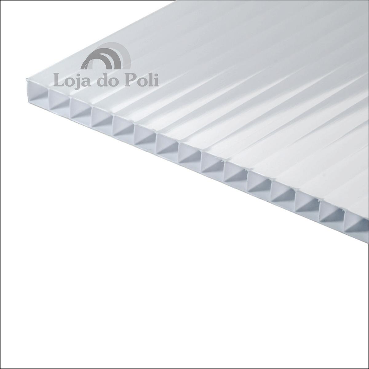 Chapa Policarbonato Alveolar Branco 6mm 1,0x6,0m