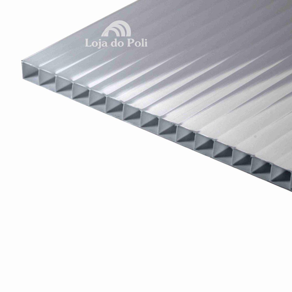 Chapa Policarbonato Alveolar Prata Solar Reflective 6mm 2,1x6,0m