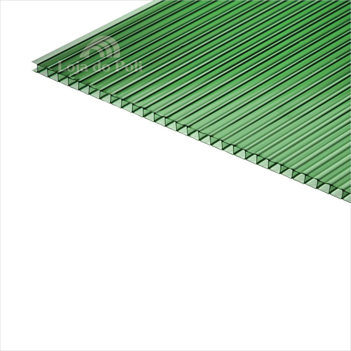 Chapa Policarbonato Alveolar Verde 4mm 1,0x6,0m