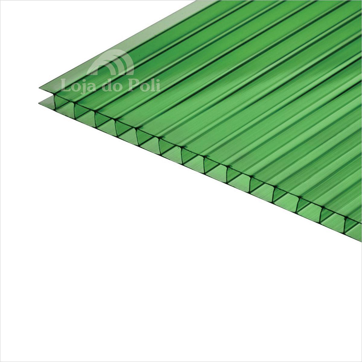 Chapa Policarbonato Alveolar Verde 6mm 1,0x6,0m