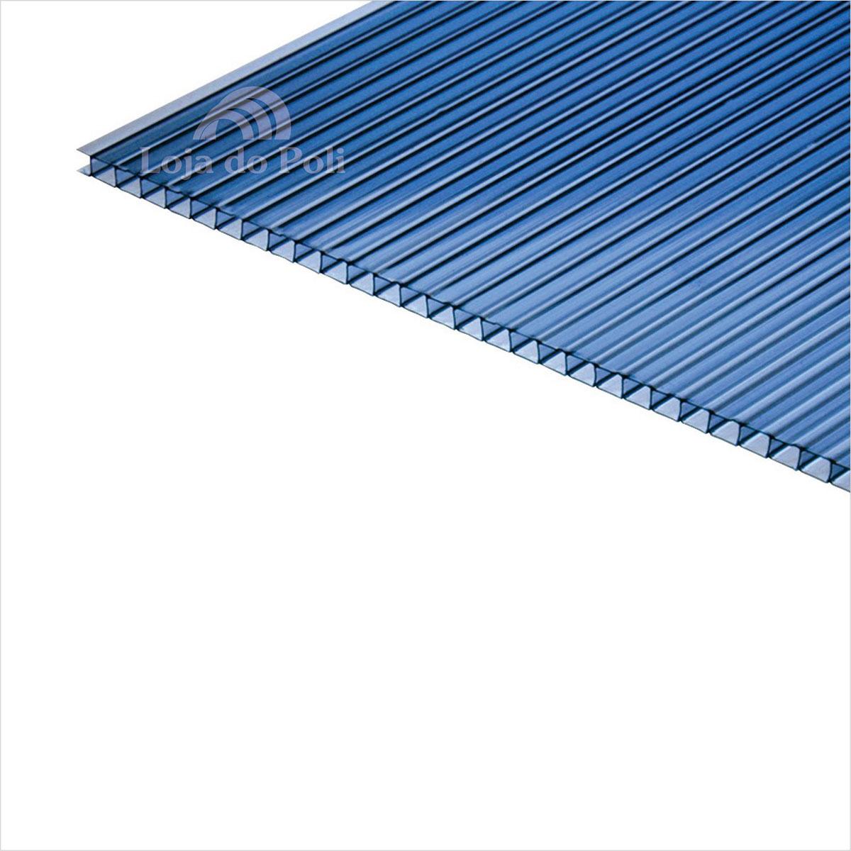Chapa Policarbonato Alveolar Azul 4mm 1,0x6,0m