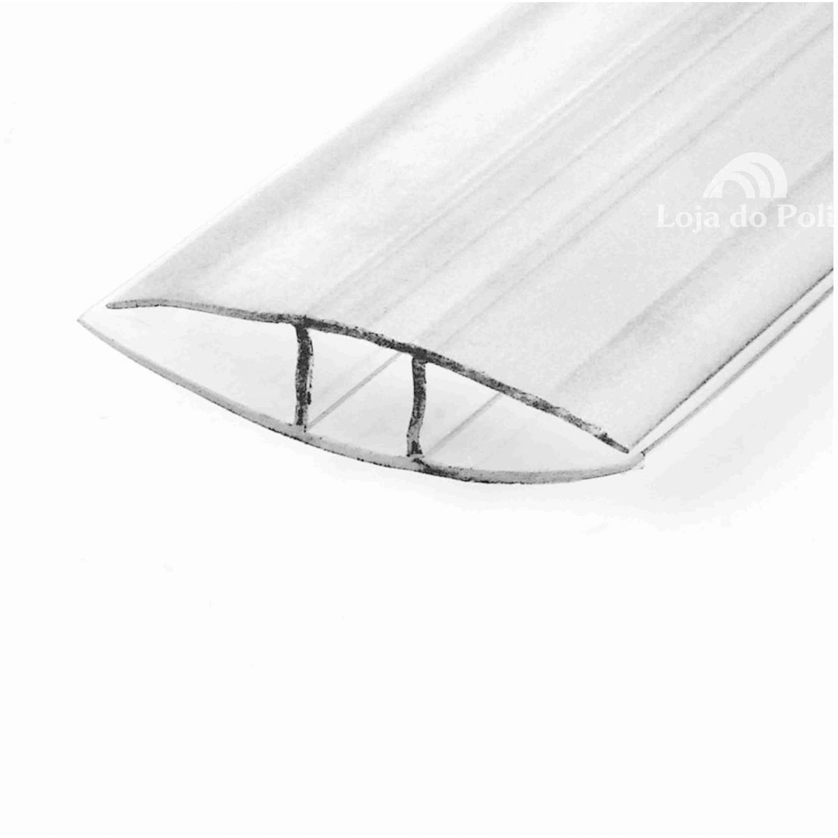 Emenda Rápida Cristal/Incolor Para Policarbonato 4 / 6 ou 10mm - 6 Metros