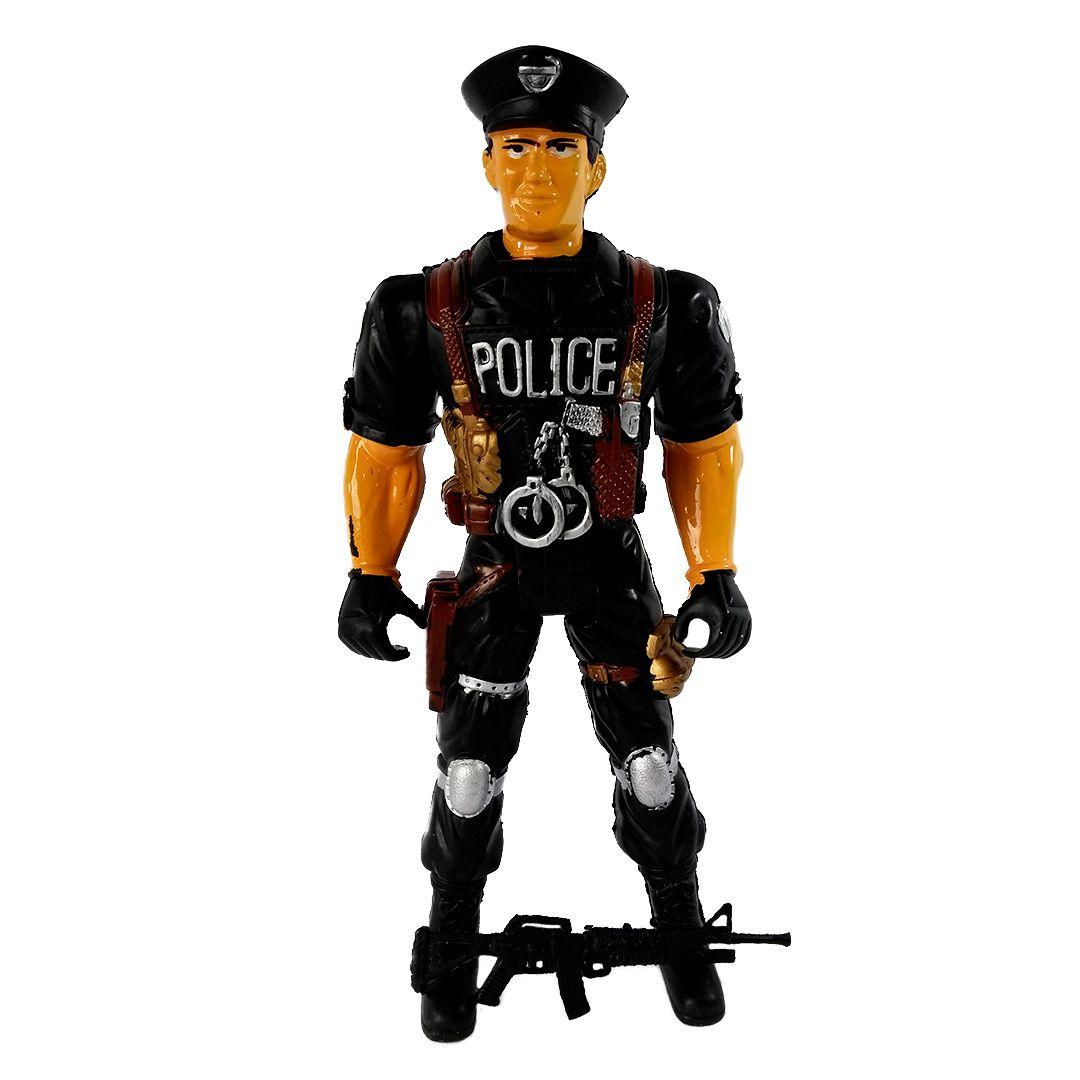 BONECO POLICIAL DE PLASTICO 39CM