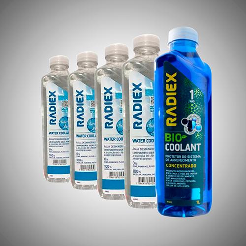 Kit 2 Radiex Bio Coolant Azul Concentrado R1922 + 4 Águas Desmineralizadas