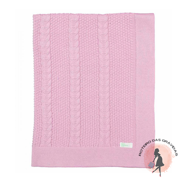 Manta de tricot trabalhada - rosa