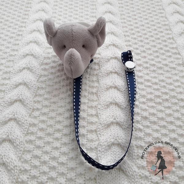Prendedor de chupeta pelúcia Elefante