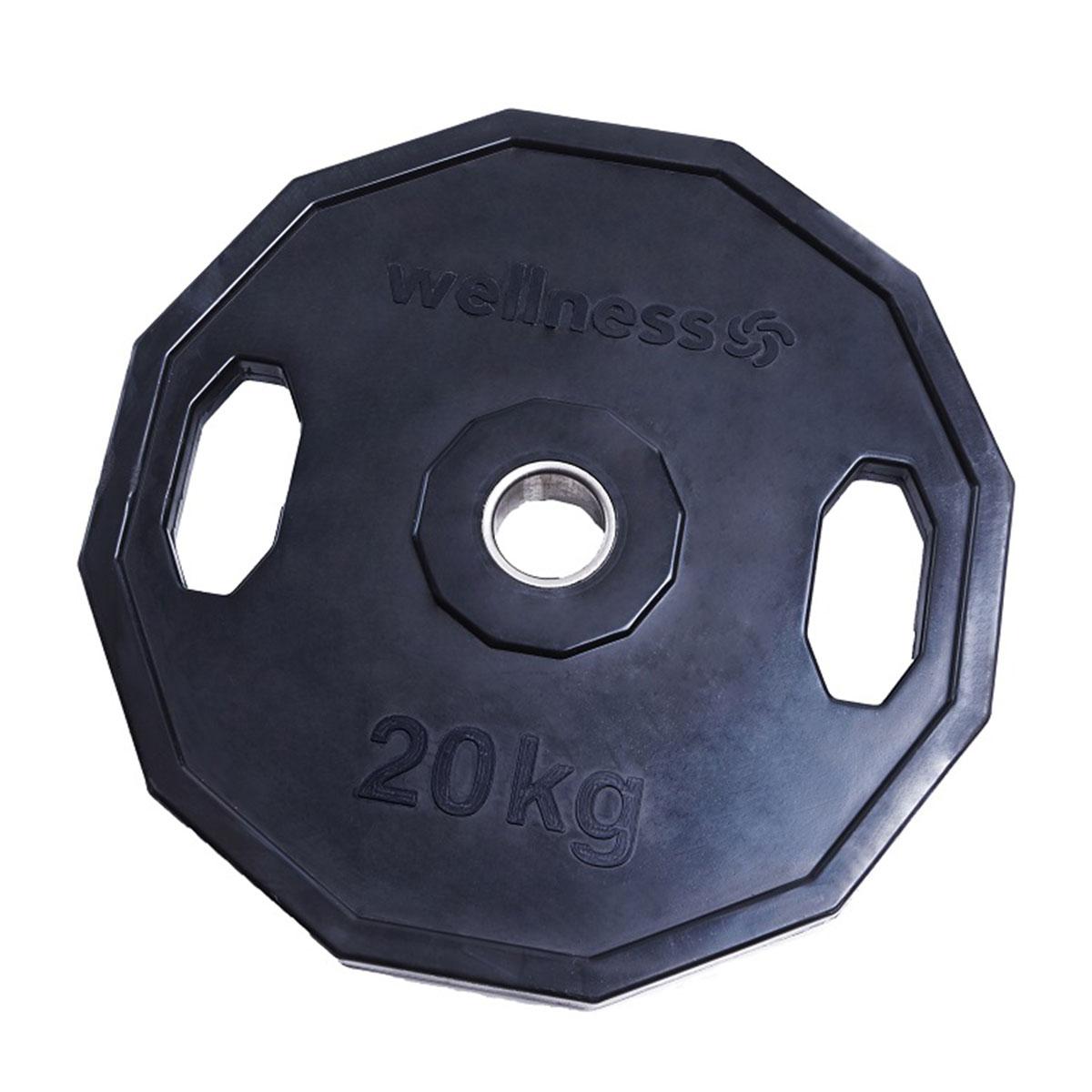 Anilha Emborrachada Furação Olímpica 12 faces 20,00kg Wellness