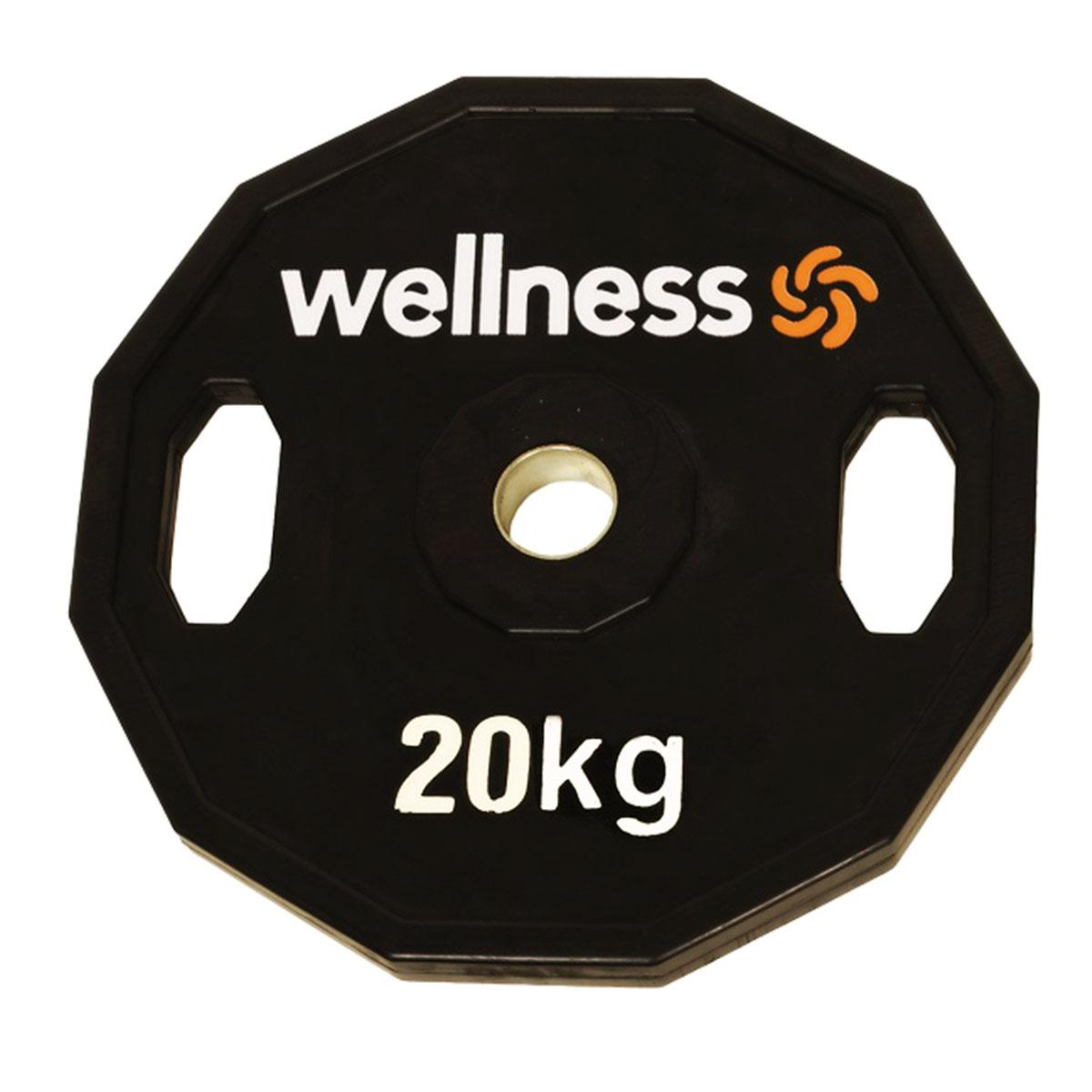Anilha Emborrachada Furação Standard 12 Faces com Pegada 20,00kg Wellness