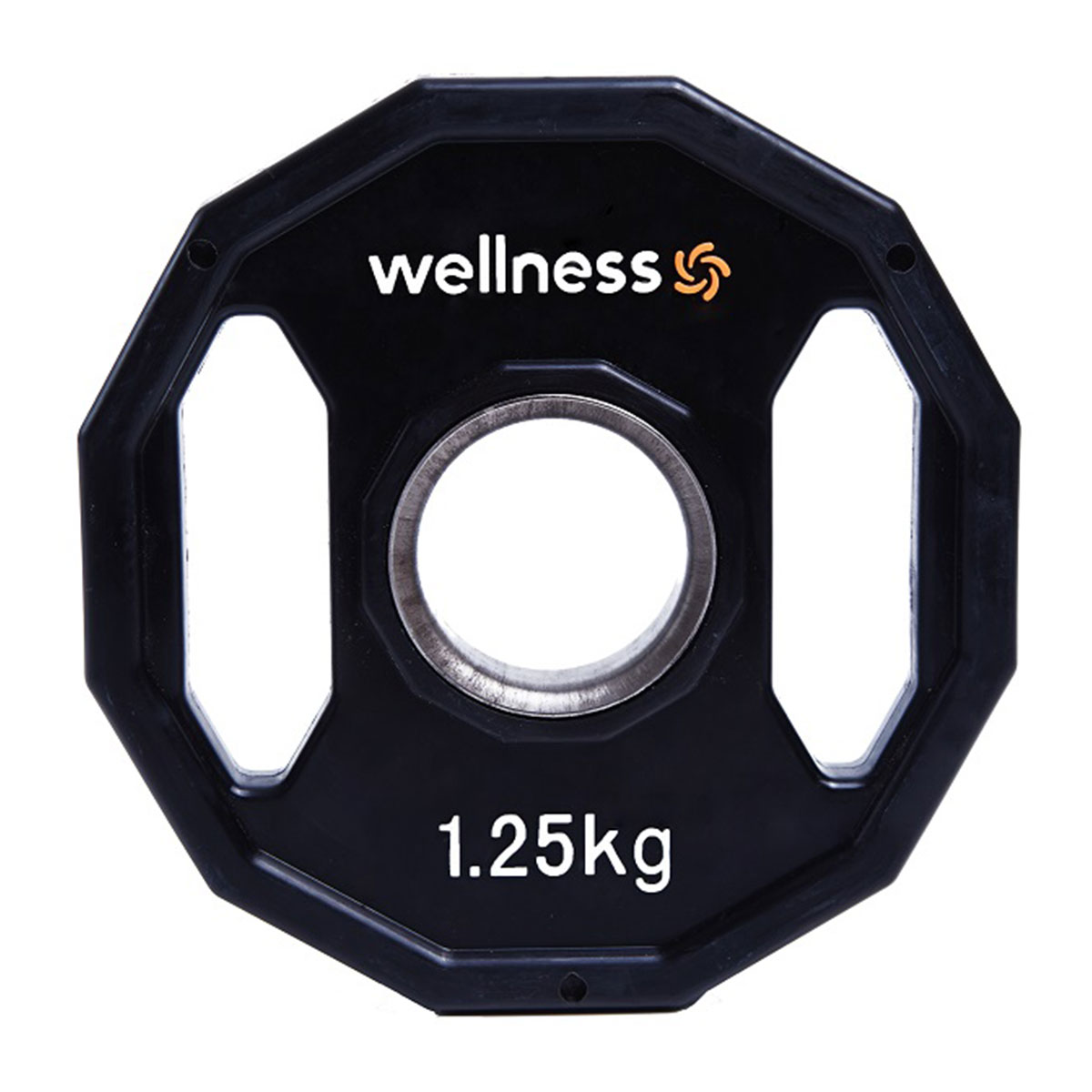 Anilha Poliuretano Furação Olímpica 12 Faces com Pegada 1,25kg Wellness