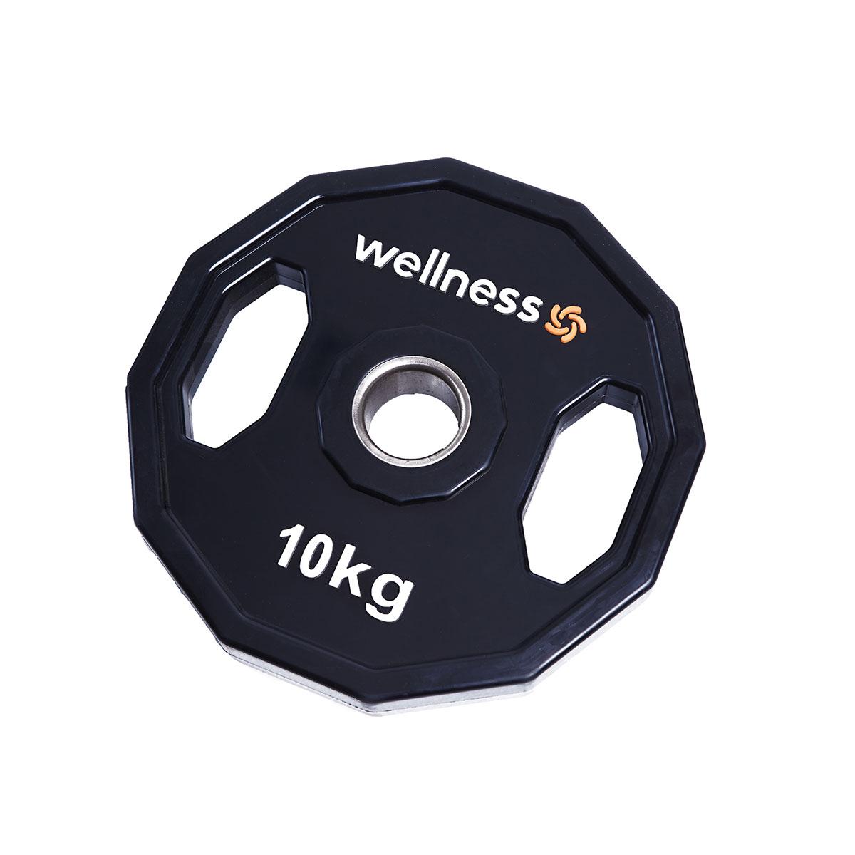 Anilha Poliuretano Furação Olímpica 12 Faces com Pegada 10,00kg Wellness