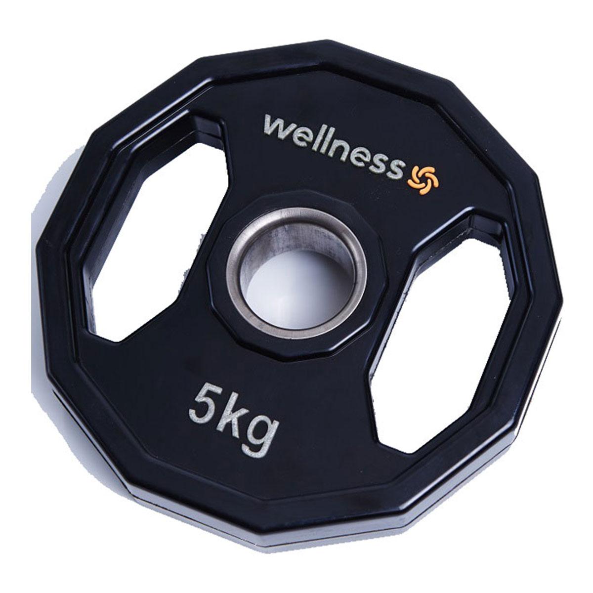 Anilha Poliuretano Furação Olímpica 12 Faces com Pegada 5kg Wellness