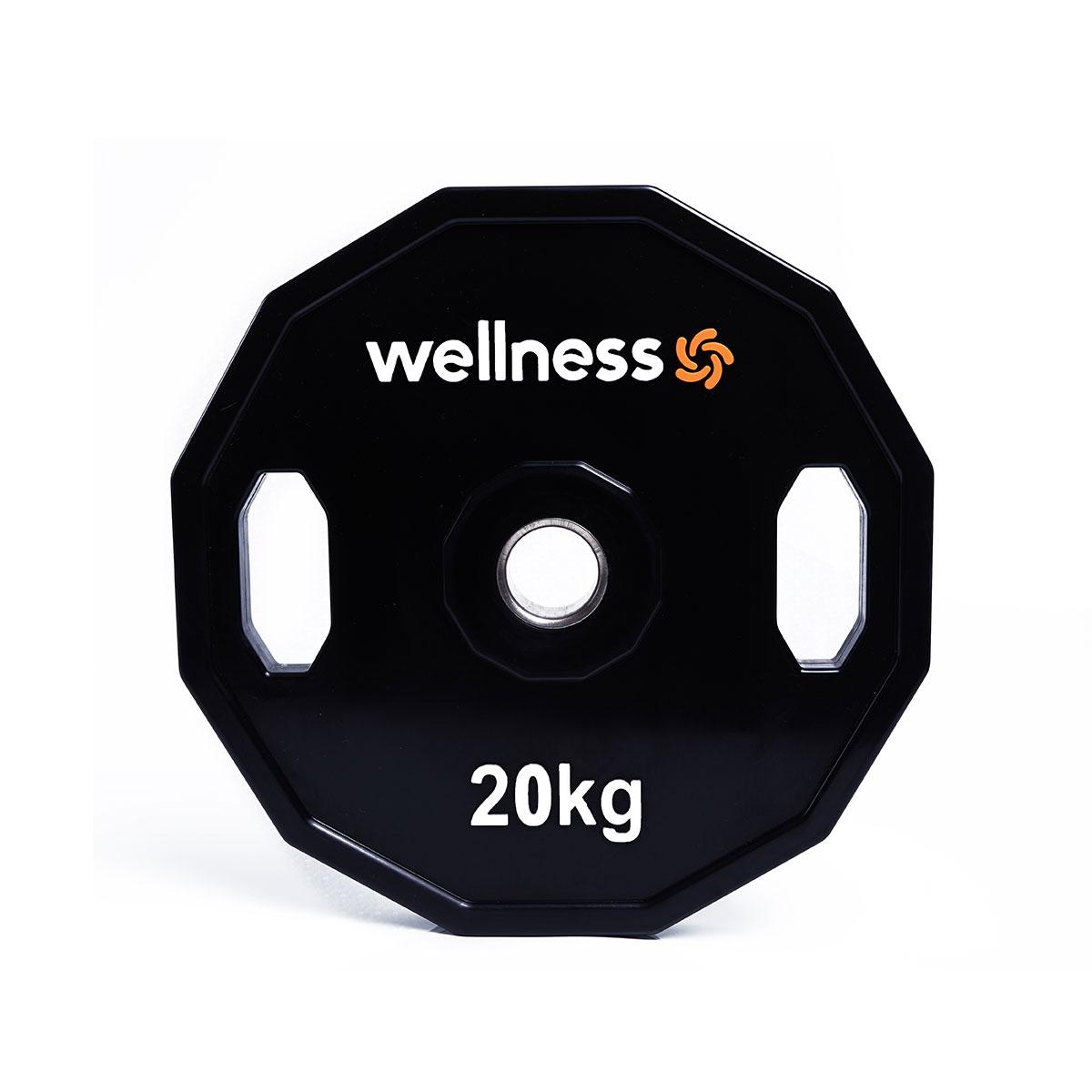 Anilha Poliuretano Furação Olímpica 12 Faces com Pegada 20,00kg Wellness