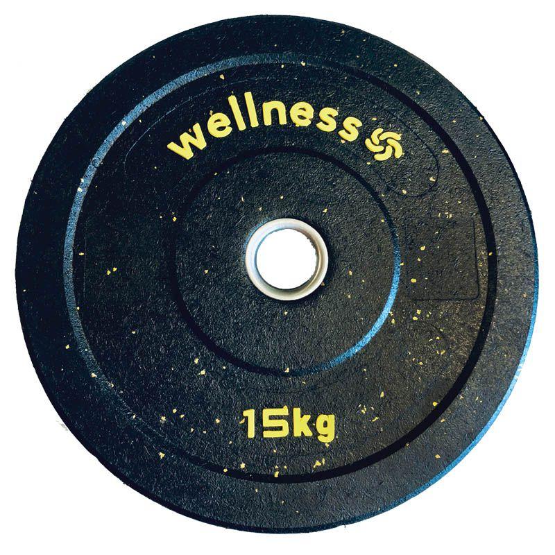 Anilha Olímpica Borracha New Bumper Plate 15kg amarela Wellness