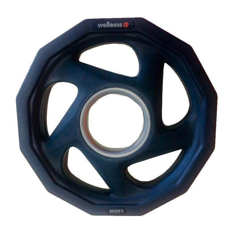 Anilha Olímpica Rubber 5 furos de 1,25kg Wellness