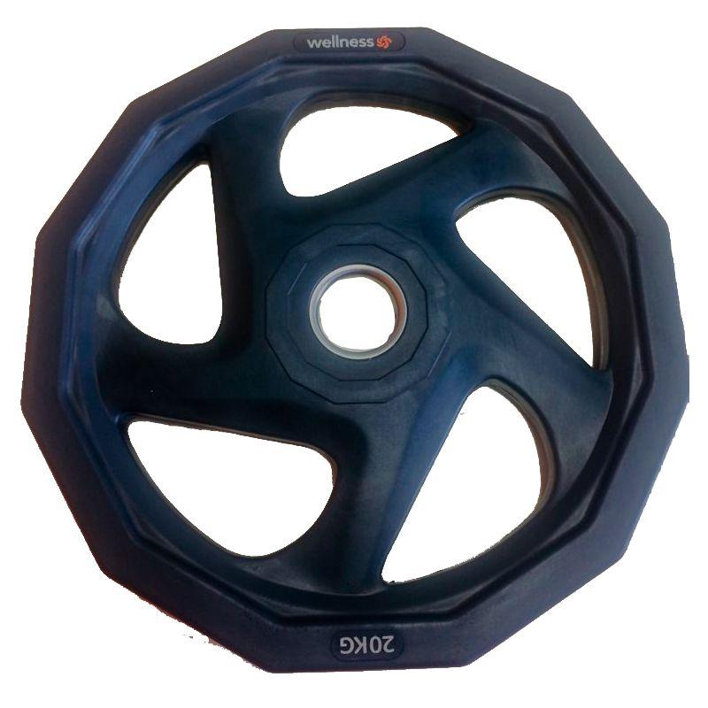 Anilha Olímpica Rubber 5 furos de 20kg Wellness