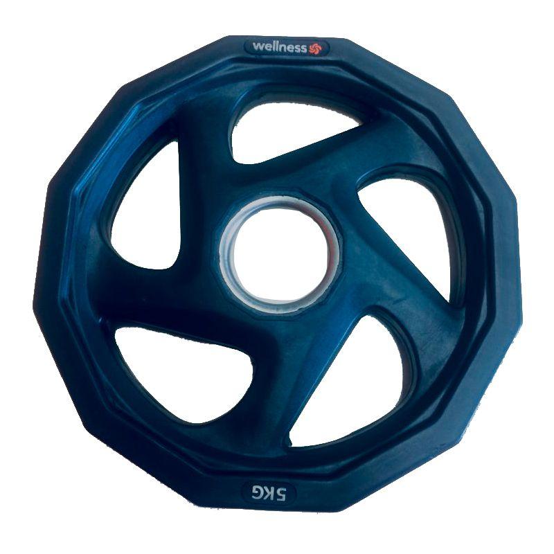 Anilha Olímpica Rubber com 5 furos de 5kg Wellness