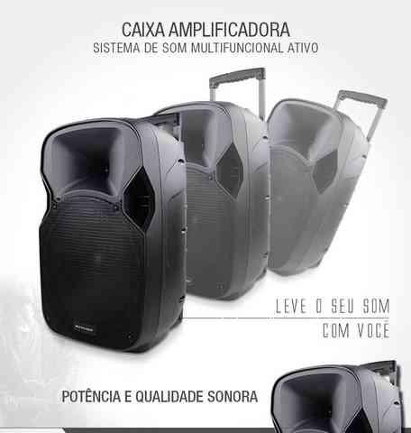 Caixa de Som Amplificadora Multilaser Trolley, 150w, Usb/cartao sd/radio