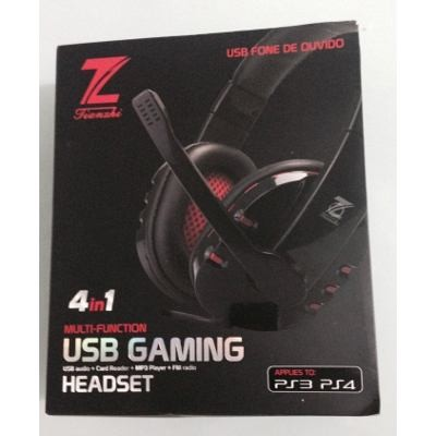 Fone de Ouvido com Microfone USB Gaming PC PS3 PS4 Z CARD FM MP3 4X1