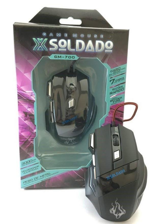 Mouse Game Preto X-soldado Usb 3000dpi Exbom Gm-700