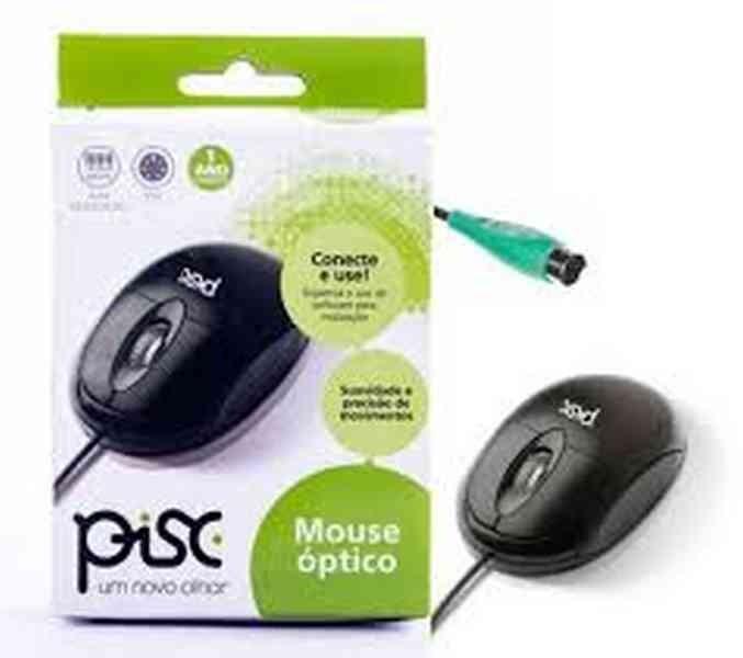 Mouse Óptico Preto PS2 - Pisc