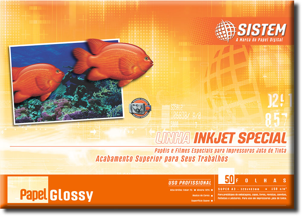 Papel GLOSSY SUPER A3 | 50 Folhas | 150g/m²