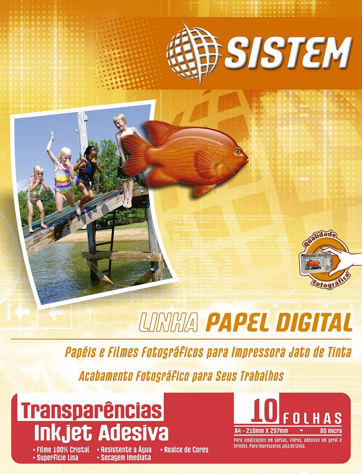TRANSPARÊNCIA ADESIVA Inkjet (Vinil Adesivo) | 10 Folhas| A4 | 80 micra