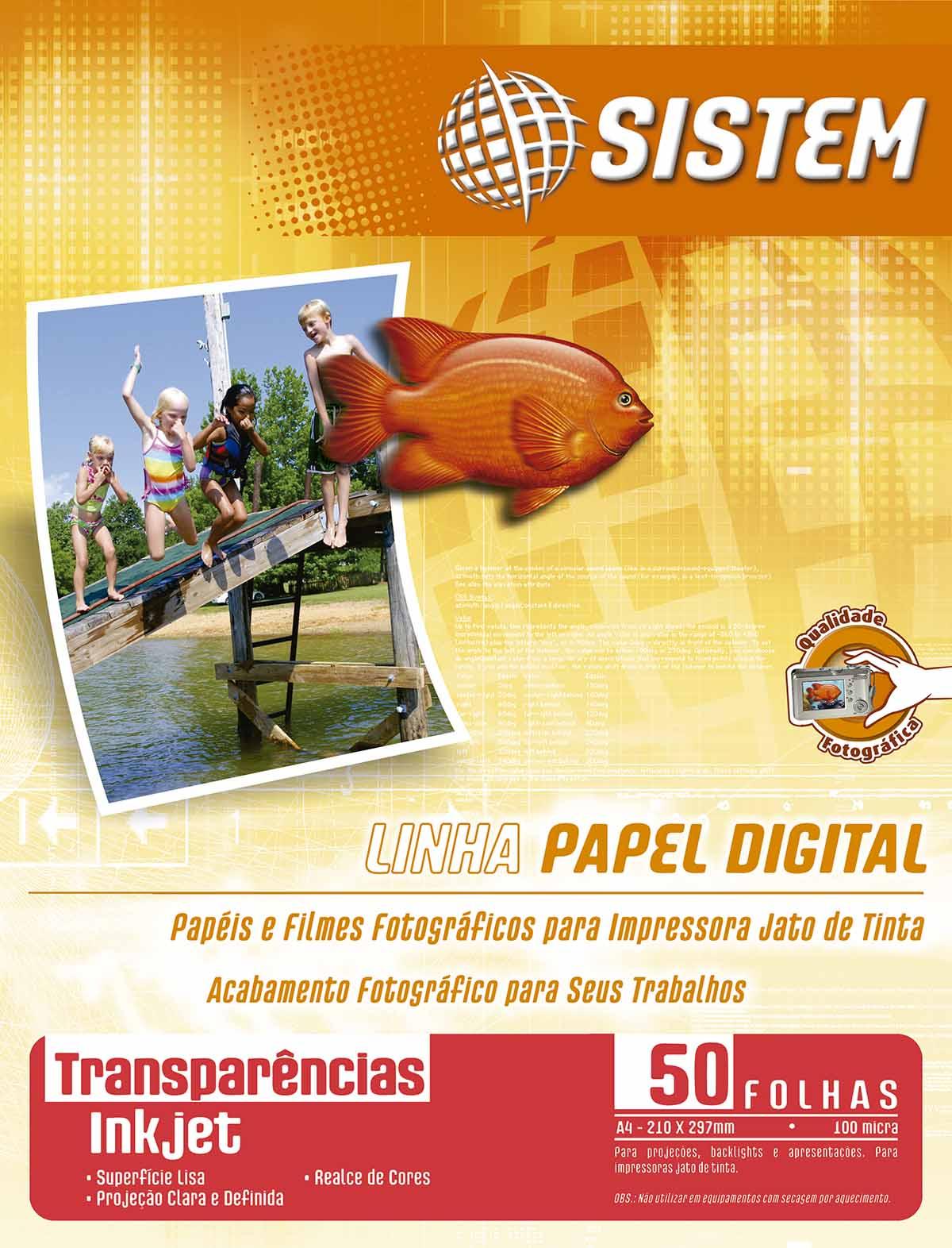 TRANSPARÊNCIA Inkjet Sem Tarja | Carta | 100 micra | 50 Folhas