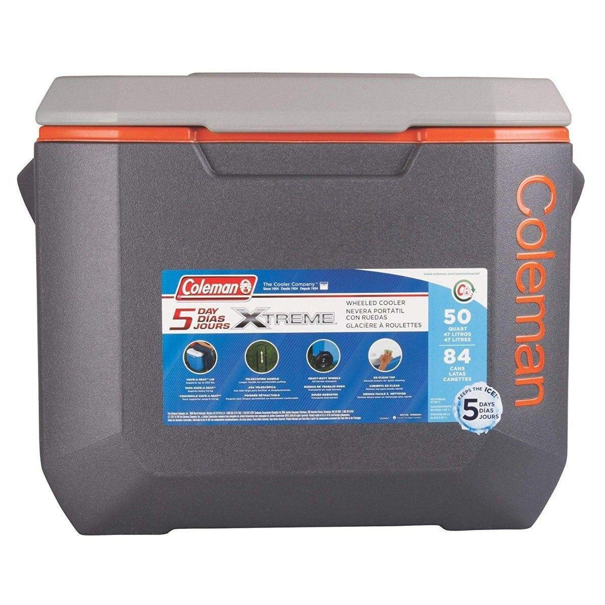 Caixa Térmica C/ Rodas Coleman 50qt Xtreme 47,3 Litros Cinza  - AVENTÚ