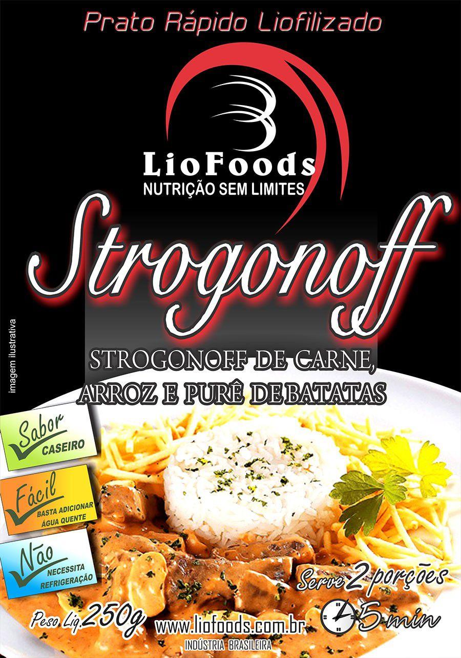 Prato Rápido Liofoods Strogonoff de Carne Arroz e Purê de Batatas Liofilizado 250gr