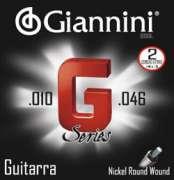 Encordoamento Giannini para Guitarra G Series GSGL - Leve .010-.046 - Transa Som Instrumentos Musicais